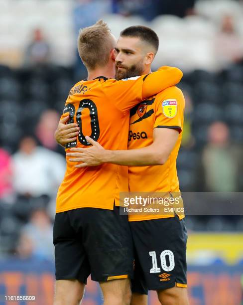 Hull City's Jarrod Bowen and Hull City's Jon Toral embrace Hull City v Reading Sky Bet Championship KCOM Stadium