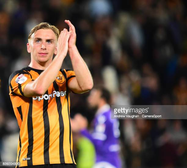 Hull City's Jarrod Bowen applauds fans at the end of the Sky Bet Championship match between Hull City and Bolton Wanderers at KCOM Stadium on August...