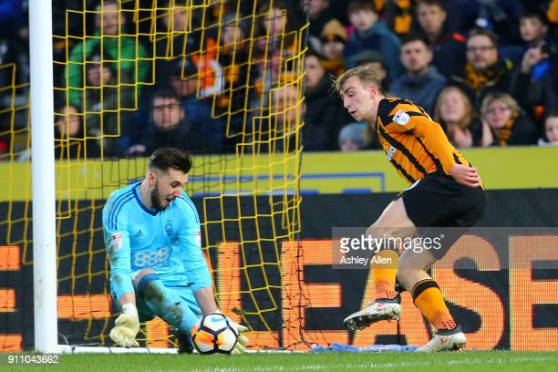 Hull City's Jarrod Bowen attempts to get a shot past Nottingham Forest's goalkeeper Jordan Smith during the Emirates FA Cup Fourth Round match...