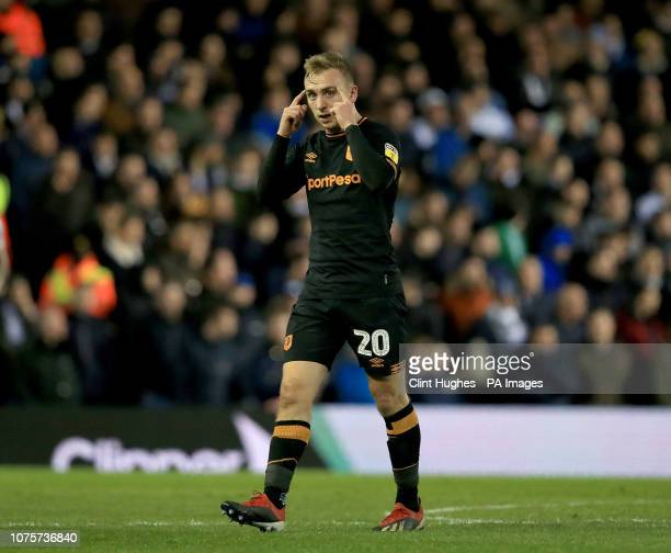 Hull City's Jarrod Bowen celebrates after he scores his sides first goal during the Sky Bet Championship match at Elland Road Leeds