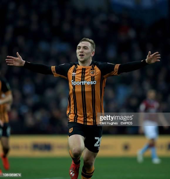 Hull City's Jarrod Bowen celebrates after he scores his sides first goal Aston Villa v Hull City Sky Bet Championship Villa Park