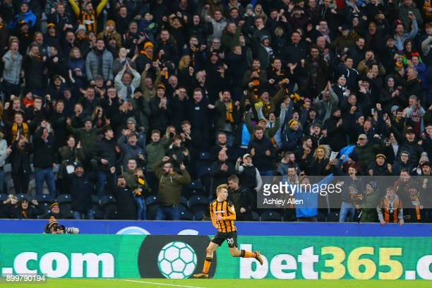 Hull City's Jarrod Bowen celebrates during the Sky Bet Championship match between Hull City and Fulham at KCOM Stadium on December 30 2017 in Hull...