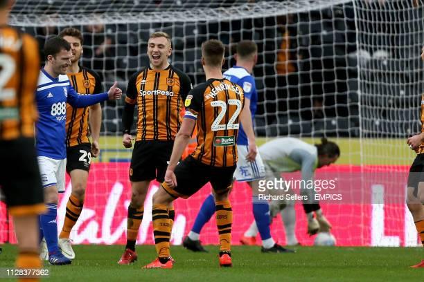Hull City's Jarrod Bowen celebrates his 2nd goal from the spot Hull City v Birmingham City Sky Bet Championship KCOM Stadium