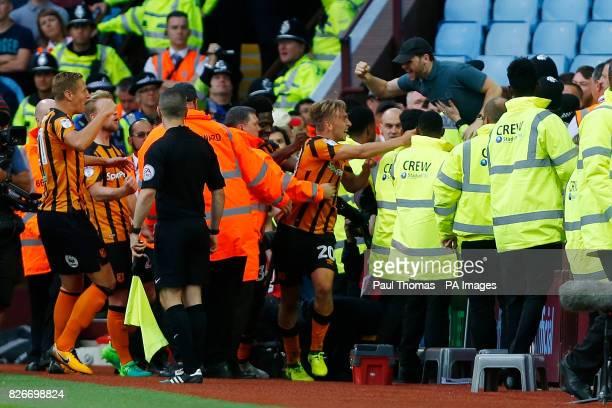 Hull City's Jarrod Bowen celebrates his goal during the Sky Bet Championship match at Villa Park Birmingham