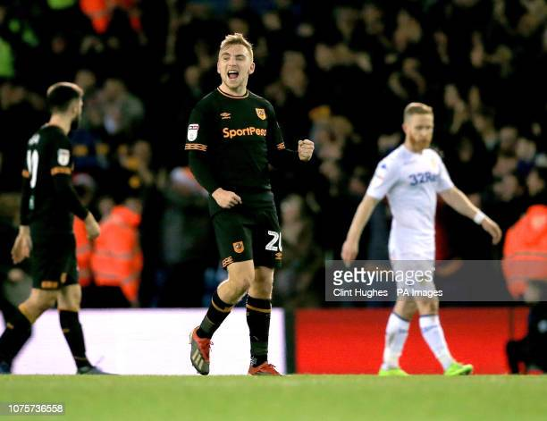 Hull City's Jarrod Bowen celebrates his sides victory at the end of the game during the Sky Bet Championship match at Elland Road Leeds