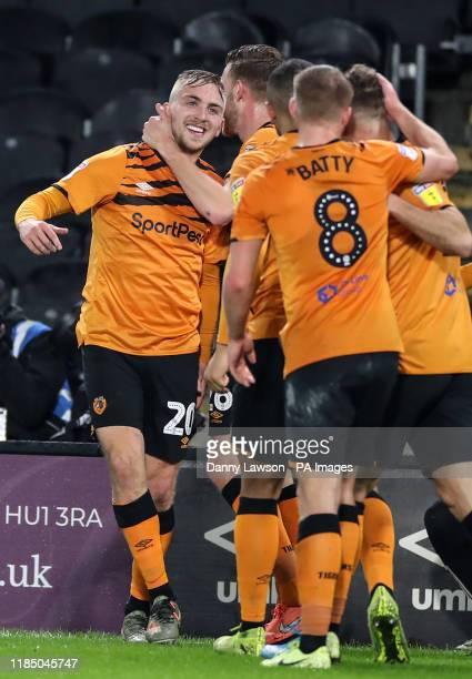 Hull City's Jarrod Bowen celebrates scoring his sides 1st goal during the Sky Bet Championship match at the KCOM Stadium Hull