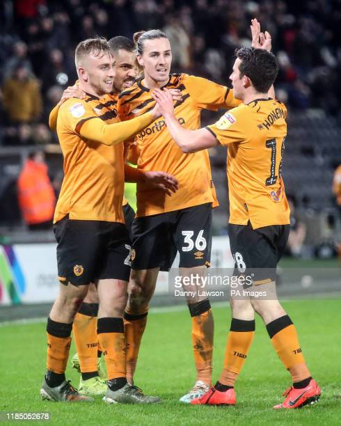 Hull City's Jarrod Bowen celebrates scoring his sides 4th goal with team mates Josh Magennis Jackson Irvine and George Honeyman during the Sky Bet...