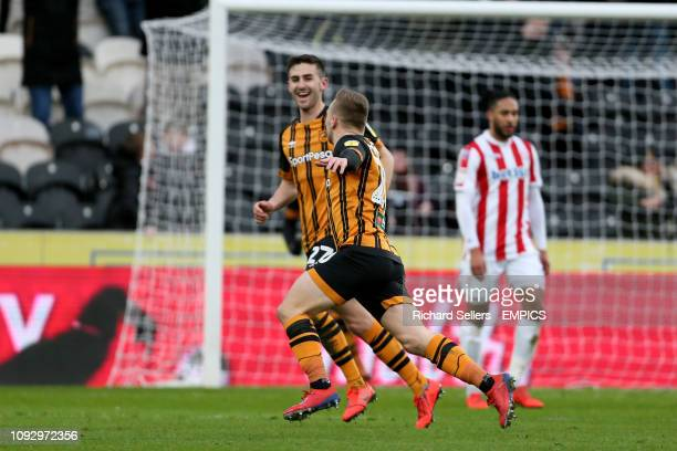 Hull City's Jarrod Bowen celebrates scoring his side's first goal of the game with teammates Hull City v Stoke City Sky Bet Championship KCOM Stadium