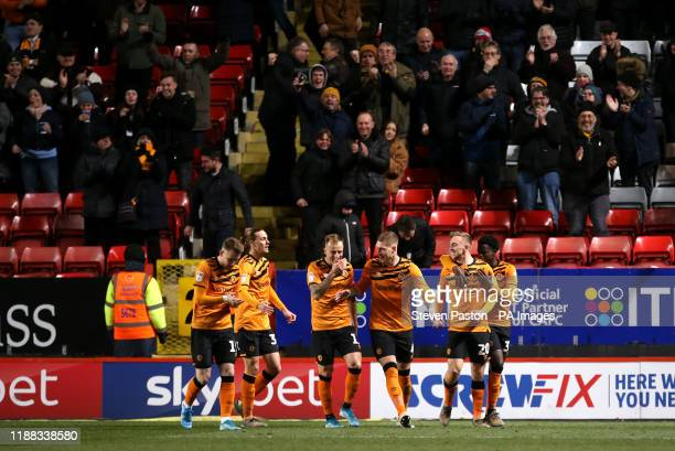 Hull City's Jarrod Bowen celebrates scoring his side's first goal of the game with team mates during the Sky Bet Championship match at The Valley...