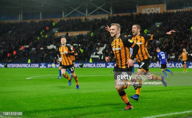 Hull City's Jarrod Bowen celebrates scoring his side's second goal from the penalty spot with teammate Evandro Goebel during the Sky Bet Championship...