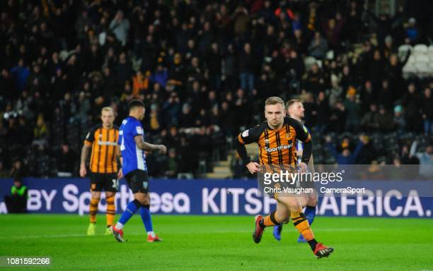 Hull City's Jarrod Bowen celebrates scoring his side's second goal from the penalty spot during the Sky Bet Championship match between Hull City and...