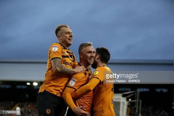 Hull City's Jarrod Bowen celebrates scoring his side's second goal of the game Fulham v Hull City Sky Bet Championship Craven Cottage