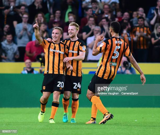 Hull City's Jarrod Bowen celebrates scoring his sides second goal with Max Clark and Michael Hector during the Sky Bet Championship match between...