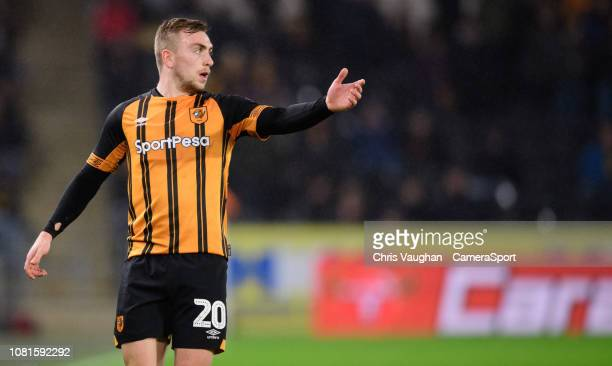 Hull City's Jarrod Bowen during the Sky Bet Championship match between Hull City and Sheffield Wednesday at KCOM Stadium on January 12 2019 in Hull...