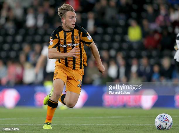 Hull City's Jarrod Bowen in action during the Sky Bet Championship match between Derby County and Hull City at the Derby County's Pride Park stadium...