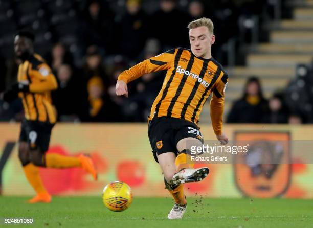 Hull City's Jarrod Bowen in action during the Sky Bet Championship match between Hull City and Sheffield United at KCOM on February 23 2018 in Hull...