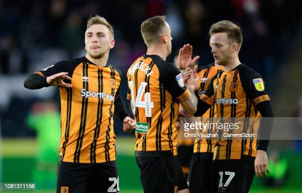 Hull City's Jarrod Bowen left celebrates scoring the opening goal during the Sky Bet Championship match between Hull City and Sheffield Wednesday at...