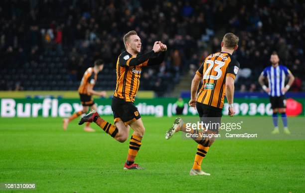 Hull City's Jarrod Bowen left celebrates scoring the opening goal with teammate Stephen Kingsley during the Sky Bet Championship match between Hull...