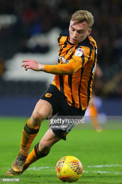 Hull City's Jarrod Bowen makes an attacking run into the box during the Sky Bet Championship match between Hull City and Fulham at KCOM Stadium on...