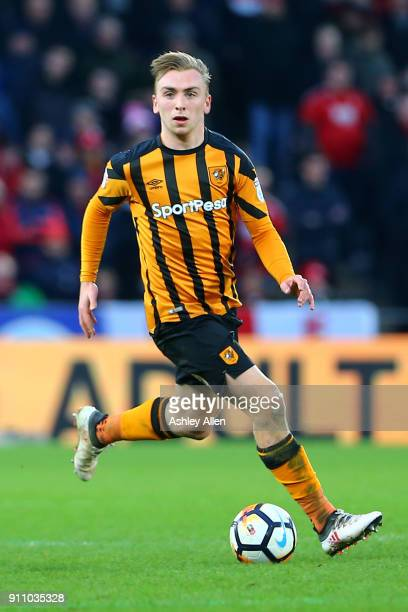 Hull City's Jarrod Bowen makes an attacking run through midfield during the Emirates FA Cup Fourth Round match between Hull City and Nottingham...