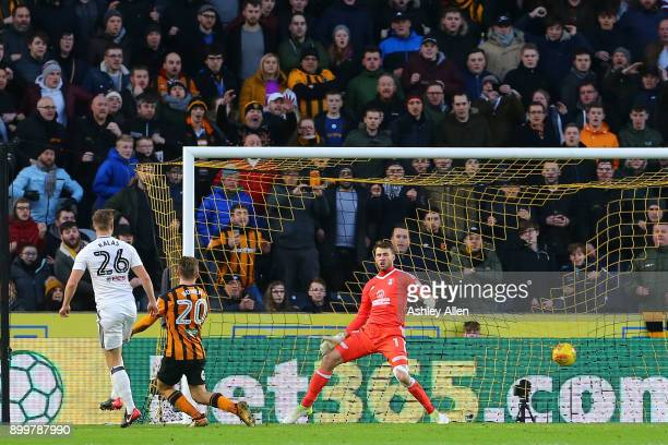 Hull City's Jarrod Bowen scores during the Sky Bet Championship match between Hull City and Fulham at KCOM Stadium on December 30 2017 in Hull England