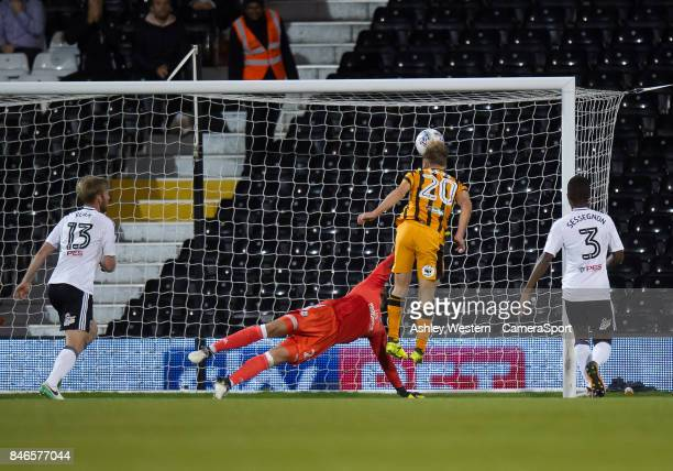Hull City's Jarrod Bowen scores his side's equalising goal to make the score 11 during the Sky Bet Championship match between Fulham and Hull City at...