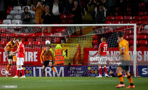 Hull City's Jarrod Bowen scores his side's first goal of the game during the Sky Bet Championship match at The Valley London