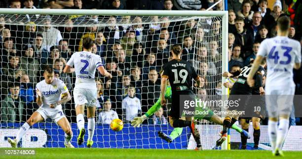 LEEDS ENGLAND DECEMBER Hull City's Jarrod Bowen scores his side's second goal during the Sky Bet Championship match between Leeds United and Hull...