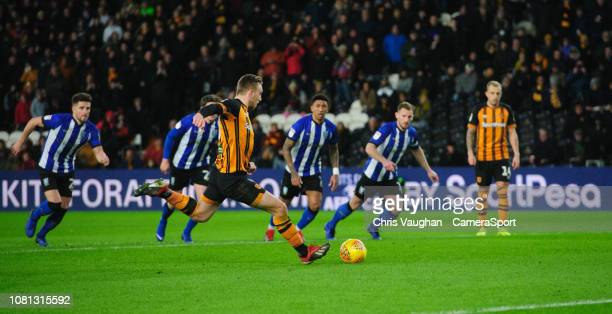 Hull City's Jarrod Bowen scores his side's second goal from the penalty spot during the Sky Bet Championship match between Hull City and Sheffield...