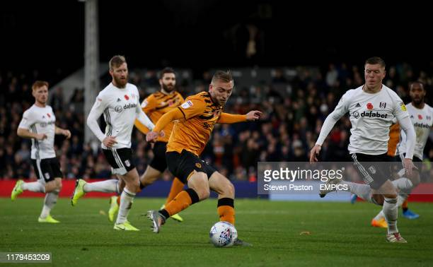 Hull City's Jarrod Bowen scores his sides second goal Fulham v Hull City Sky Bet Championship Craven Cottage