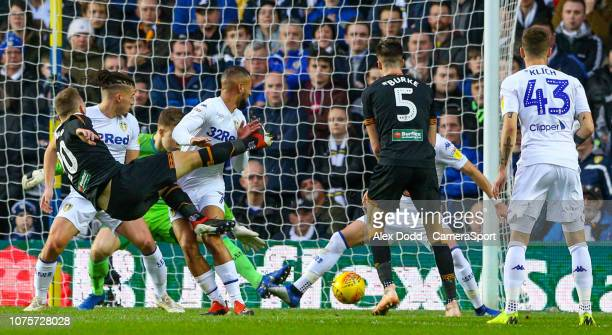 Hull City's Jarrod Bowen scores the opening goal during the Sky Bet Championship match between Leeds United and Hull City at Elland Road on December...