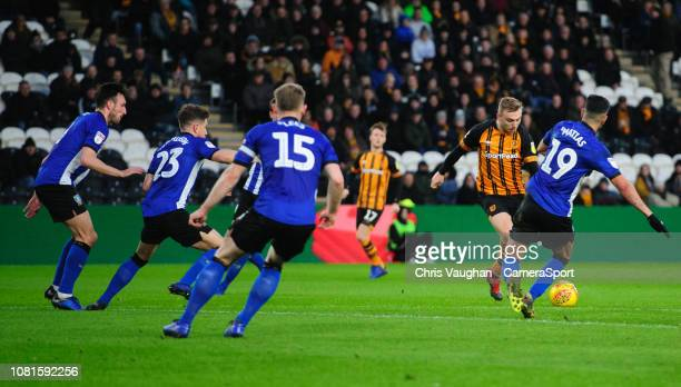 Hull City's Jarrod Bowen scores the opening goal during the Sky Bet Championship match between Hull City and Sheffield Wednesday at KCOM Stadium on...