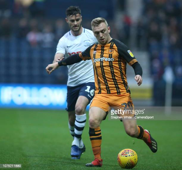 Hull City's Jarrod Bowen shields the ball from Preston North End's Andrew Hughes during the Sky Bet Championship match between Preston North End and...