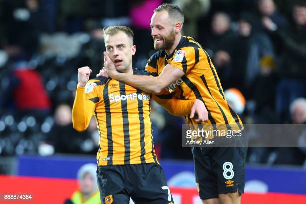 Hull City's Kamil Grosicki and David Meyler celebrate during the Sky Bet Championship match between Hull City and Brentford at KCOM Stadium on...