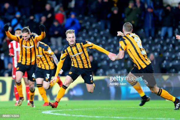 Hull City's Kamil Grosicki celebrates his goal during the Sky Bet Championship match between Hull City and Brentford at KCOM Stadium on December 9...