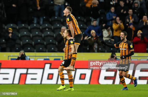 Hull City's Kamil Grosicki celebrates scoring his side's first goal during the Sky Bet Championship match between Hull City and Bolton Wanderers at...