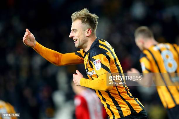 Hull City's Kamil Grosicki celebrates scoring the equaliser during the Sky Bet Championship match between Hull City and Brentford at KCOM Stadium on...