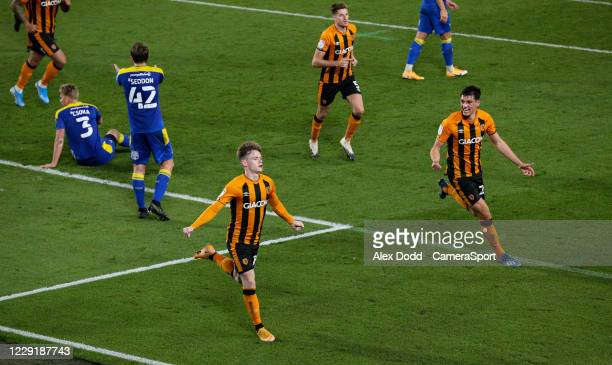 Hull City's Keane Lewis-Potter celebrates scoring the opening goal during the Sky Bet League One match between Hull City and AFC Wimbledon at KCOM...
