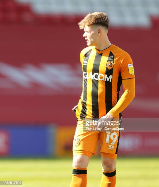 Hull City's Keane Lewis-Potter during the Sky Bet League One match between Lincoln City and Hull City at Sincil Bank Stadium on April 24, 2021 in...