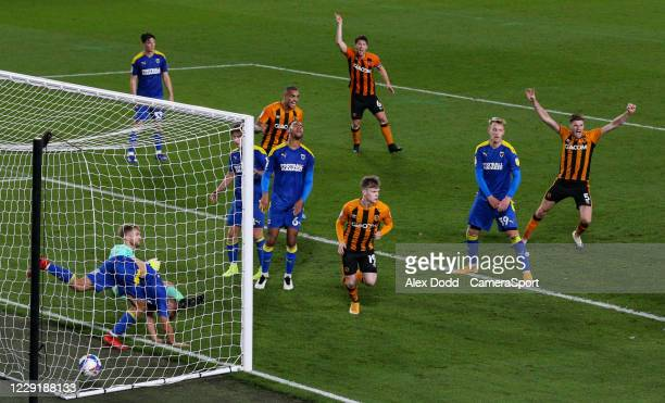 Hull City's Keane Lewis-Potter heads home from close range to give his side a 1-0 lead at half time during the Sky Bet League One match between Hull...