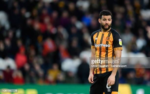 Hull City's Kevin Stewart during the Sky Bet Championship match between Hull City and Sheffield Wednesday at KCOM Stadium on January 12, 2019 in...