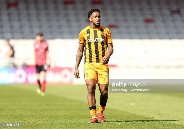 Hull City's Mallik Wilks during the Sky Bet League One match between Lincoln City and Hull City at Sincil Bank Stadium on April 24, 2021 in Lincoln,...