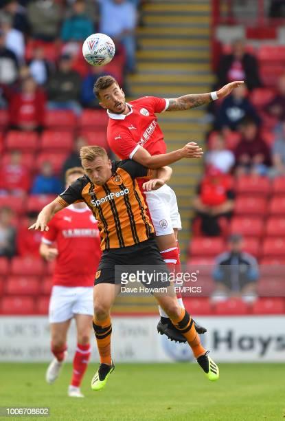 Hull City's Markus Henriksen battles with Barnsley's Daniel Pinillos Barnsley v Hull City Pre Season Friendly Oakwell