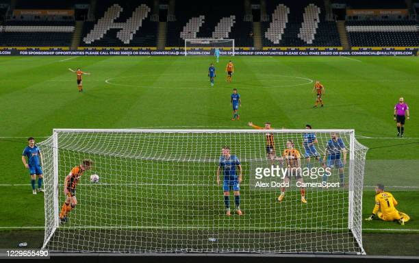 Hull City's Martin Samuelsen scores his side's second goal from close range during the EFL Papa John's Trophy Northern Group H match between Hull...