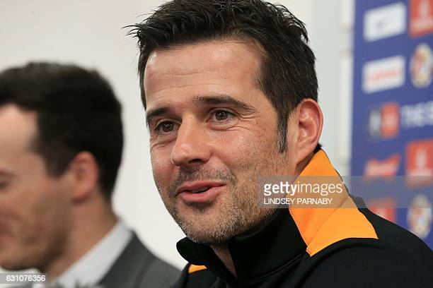 Hull City's newlyappointed Portuguese head coach Marco Silva speaks to members of the media during a press conference at their Hull City AFC training...