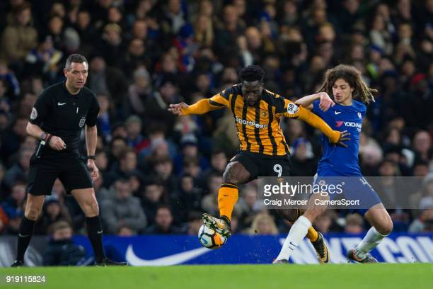 Hull City's Nouha Dicko holds off the challenge from Chelsea's Ethan Ampadu during the The Emirates FA Cup Fifth Round match between Chelsea and Hull...