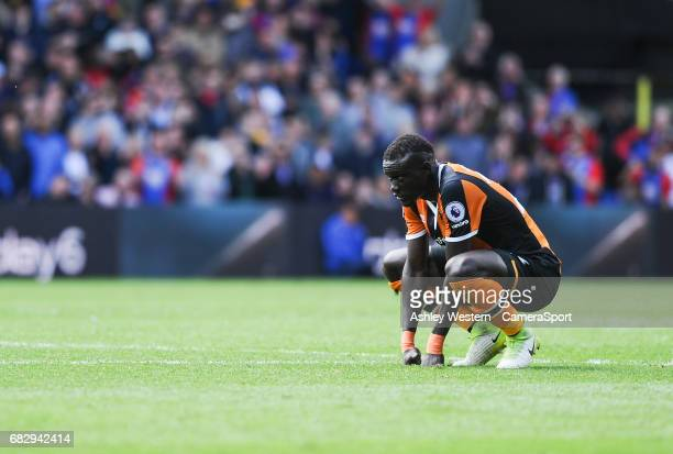 Hull City's Oumar Niasse dejected after the 40 defeat in the Premier League match to Crystal Palace at Selhurst Park on May 14 2017 in London England