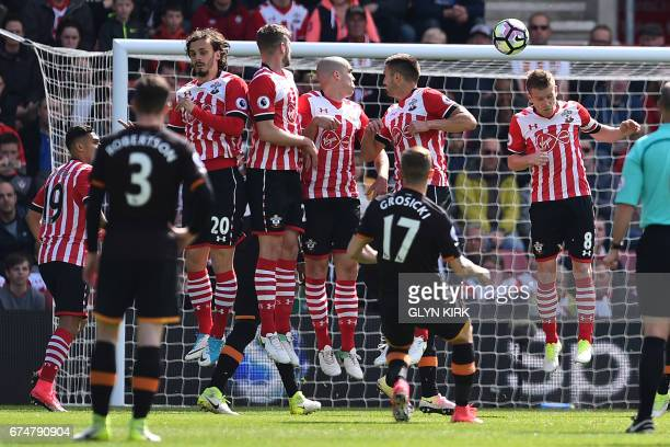 Hull City's Polish midfielder Kamil Grosicki takes a freekick during the English Premier League football match between Southampton and Hull City at...