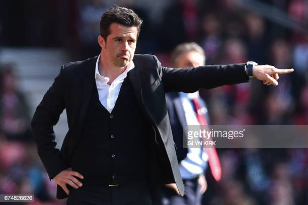 Hull City's Portuguese head coach Marco Silva gestures on the touchline during the English Premier League football match between Southampton and Hull...