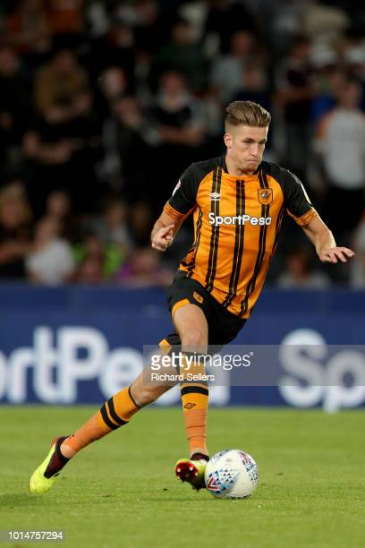 Hull City's Reece Burke during the Sky Bet Championship match between Hull City and Aston Villa at the KCOM Stadium on August 6 2018 in Hull England...